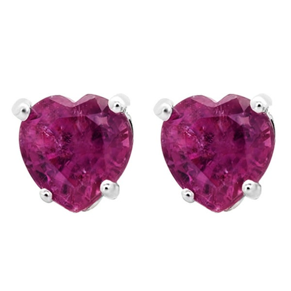 14k White Gold 1 3ct Tw Heart Natural Ruby Stud Earrings