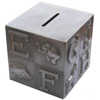 Elegance Pewter Plated ABC Block Bank