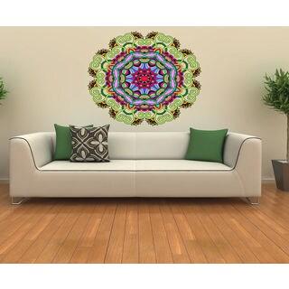 Mandala Full Color Decal, Mandala Full color sticker, colored Mandala Sticker Decal size 33x33