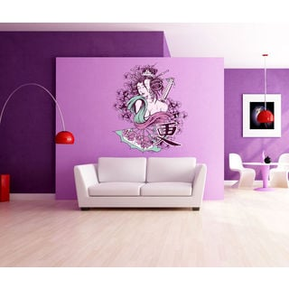 Geisha Girl Full Color Decal, Full color sticker, colored Geisha Girl Sticker Decall size 48x65