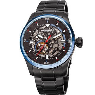 Akribos XXIV Men's Automatic Skeleton Stainless Steel Black Bracelet Watch