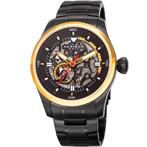 Akribos XXIV Men's Automatic Skeleton Stainless Steel Black/Gold-Tone Bracelet Watch