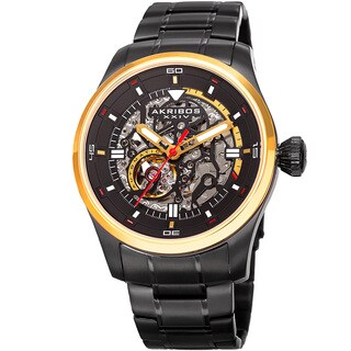 Akribos XXIV Men's Automatic Skeleton Stainless Steel Black/Gold-Tone Bracelet Watch