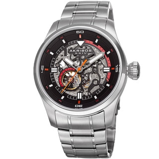 Akribos XXIV Men's Automatic Skeleton Stainless Steel Silver-Tone Bracelet Watch with Gift Box