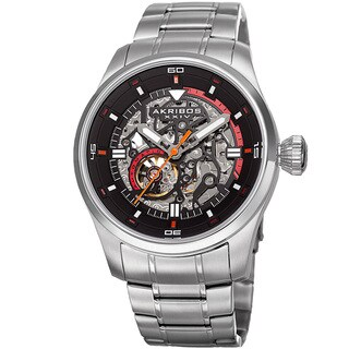 Akribos XXIV Men's Automatic Skeleton Stainless Steel Silver-Tone Bracelet Watch