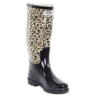 Women's Animal/Black Rubber Mid-calf 14-inch Rain Boots