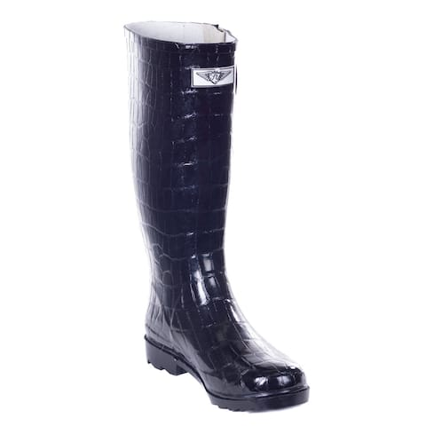 Forever Young Women's Glossy Black Rubber Croco Design 14-inch Low-heel Mid-calf Rain Boots