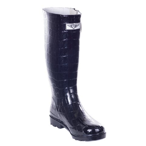 e361b6a78398f Forever Young Women s Glossy Black Rubber Croco Design 14-inch Low-heel Mid-