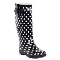 Forever Young Women's Glossy Black Rubber Polka-dot 14-inch Low-heel Mid-calf Rain Boots