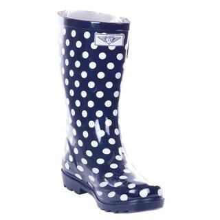 Women Navy Rubber 14-inch Mid-calf Polkadot Rain Boots