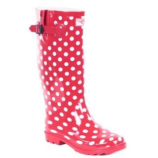 Women Red Polka Dots Rubber 14-inch Mid-calf Rain Boots