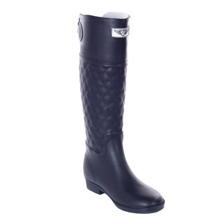Women Quilted Rider Style Black Rubber Rain Boots