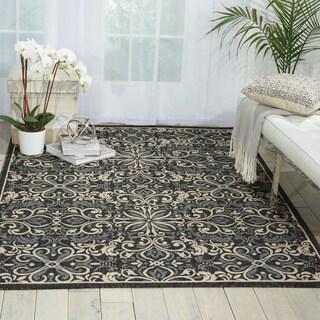 Nourison Caribbean Ivory/ Charcoal Indoor/ Outdoor Area Rug (9'3 x 12'9)