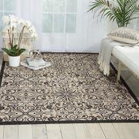Nourison Caribbean Ivory/ Charcoal Indoor/ Outdoor Area Rug - 7'10 x 10'6