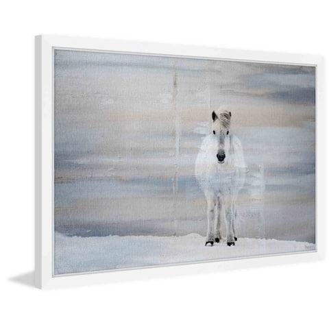 Handmade Parvez Taj - White Horse Forward Framed Print