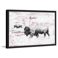 Parvez Taj - 'Buffalo Walking' Framed Painting Print - Multi