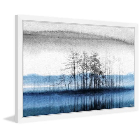 Handmade Parvez Taj - Tree Isle Reflects Framed Print