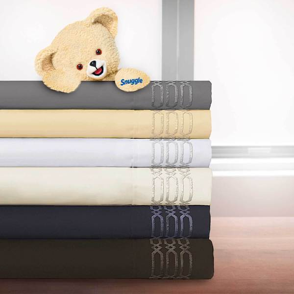 Linx Embroidered 4-piece Microfiber Sheet Set with Deep Pockets by Snuggle