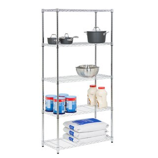 Honey-Can-Do SHF-06832 5-Tier Steel Urban Adjustable Storage Shelving Unit - Chrome