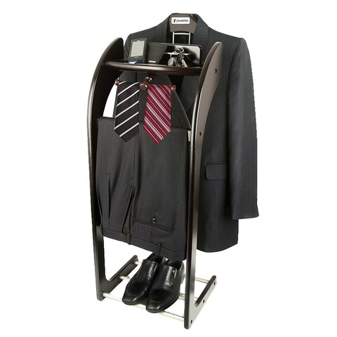 Solid Hardwood Espresso Executive Clothes Valet Stand