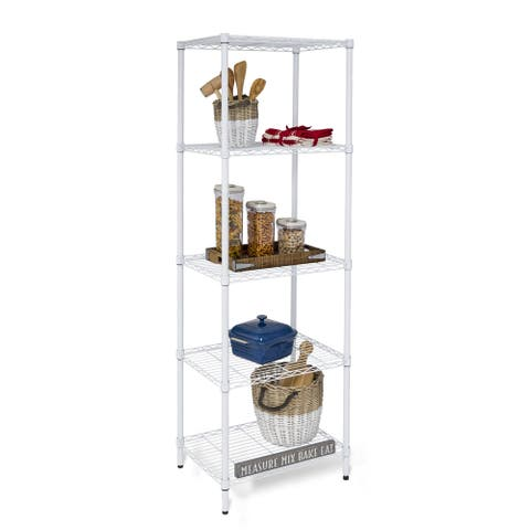 Honey-Can-Do SHF-01055 5-tier Adjustable White Shelving Unit