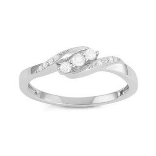 Journee Collection Sterling Silver 1/4 CT TDW Diamond Round Cut Twist Promise Ring