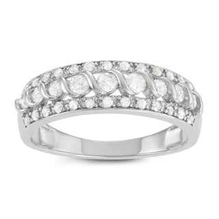 Journee Collection Sterling Silver 1/2 CT TDW Diamond Round Cut Pave Set Band