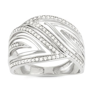 Journee Collection Sterling Silver 4/5 CT TDW Diamond Swirl Open Cut Ring