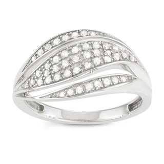 Journee Collection Sterling Silver1/2 CT TDW Diamond Swirl Split Micropave Ring