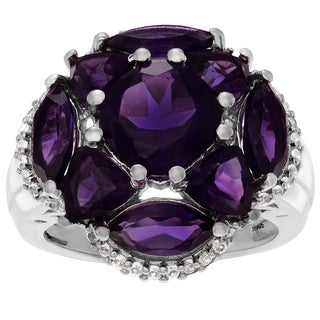 Journee Collection Sterling Silver Amethyst Topaz Flower Ring