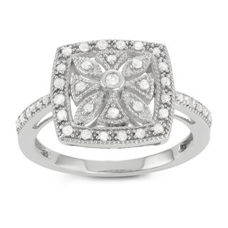 Journee Collection Sterling Silver 1/3 CT TDW Diamond Square Flower Ring