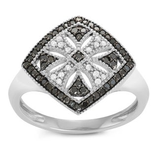 Journee Collection Sterling Silver 3/4 CT TDW Black and White Diamond Micropave Square Ring