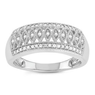 Journee Collection Sterling Silver 1/2 CT TDW Diamond 3 Row Micropave Ring