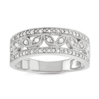 Journee Collection Sterling Silver 1/2 CT TDW Diamond 3 Row Micropave Band