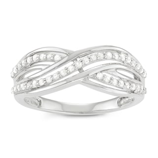 Journee Collection Sterling Silver 2/5 CT TDW Diamond Pave Twist Ring