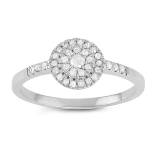 Journee Collection Sterling Silver 1/3 CT TDW Diamond Micropave Round Halo Ring