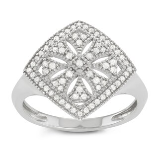 Journee Collection Sterling Silver 3/4 CT TDW Diamond Micropave Square Ring