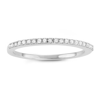 Journee Collection Sterling Silver 1/5 CT TDW Round Cut Micropave Wedding Band