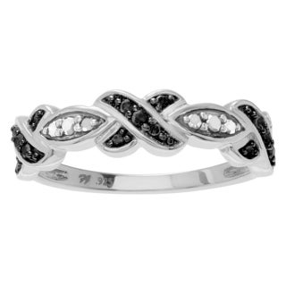 Journee Collection Sterling Silver 1/5 CT TDW Black and White Diamond Round Pave Ring