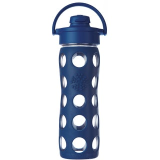 Lifefactory Blue Glass and Silicone Water Bottle With Flip Cap