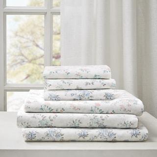 Madison Park Floral Cotton Garment Wash Printed 6 Piece Sheet Set