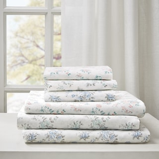 Madison Park Floral Cotton Garment Wash Printed 6 Piece Sheet Set