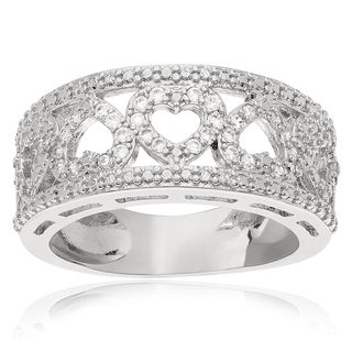 Journee Collection Sterling Silver Cubic Zirconia Heart Band