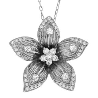Journee Collection Sterling Silver Cubic Zirconia Accent Flower Pendant