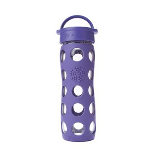 Lifefactory Purple Silicone and Glass Water Bottle With Leakproof Cap