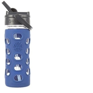 Lifefactory Glass Water Bottle with Straw Cap