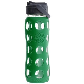 Lifefactory Green Silicone and Glass Water Bottle With Straw Cap