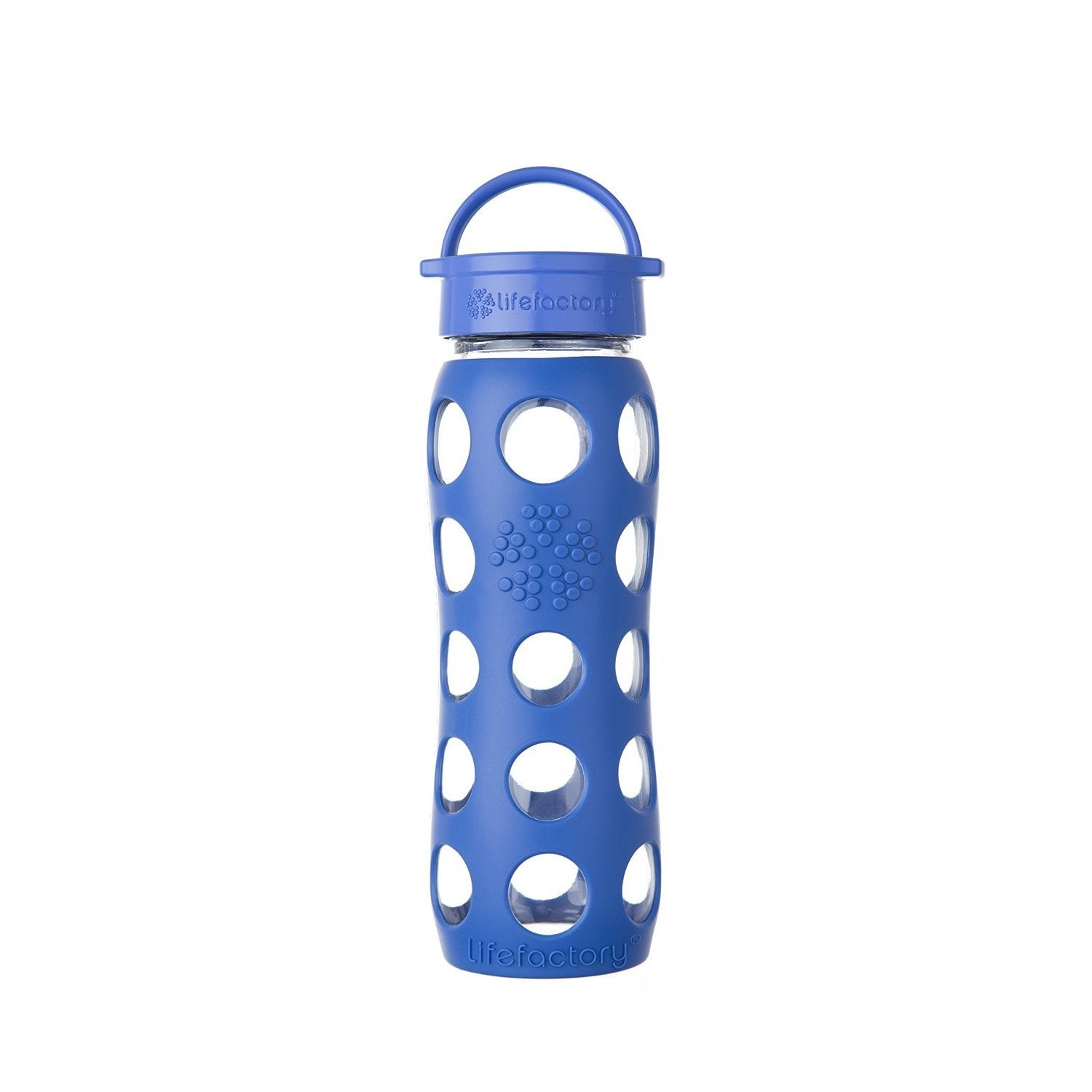 Life Factory Blue Silicone and Glass Water Bottle With Le...