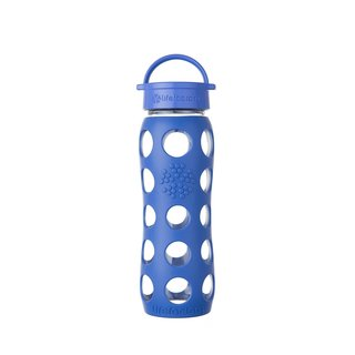 Lifefactory Blue Silicone and Glass Water Bottle With Leakproof Cap