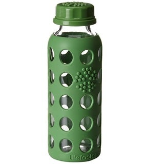 Lifefactory Green Silicone and Glass Kids' Water Bottle With Flat Cap